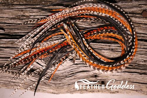 "Autumn-Breeze Hair Feathers, 14"" - 16"""